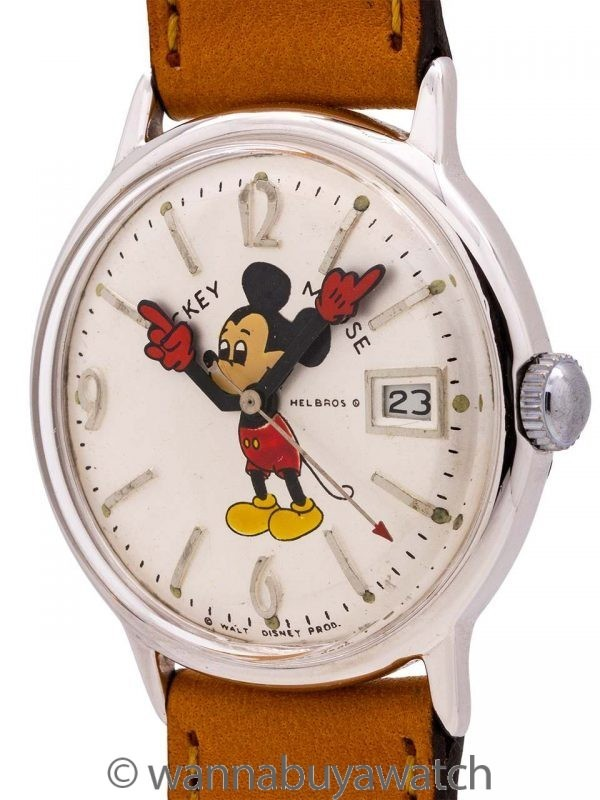 Helbros 17 Jewel Mickey Mouse Date circa 1970's