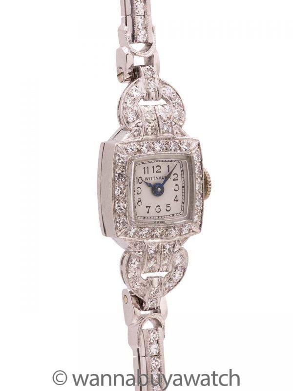 Lady Wittnauer Platinum & Diamond Watch 2.30ct circa 1940's & 1950's