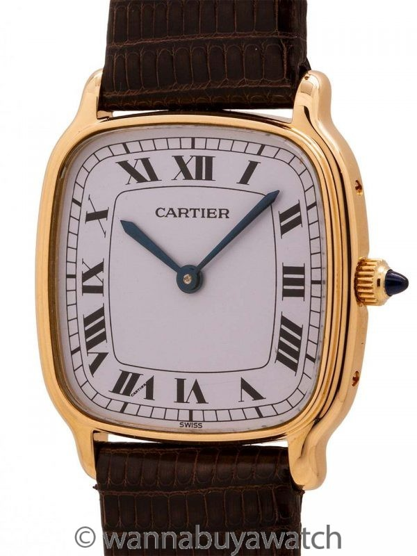 Cartier 18K YG Cushion Manual Wind circa 1970's