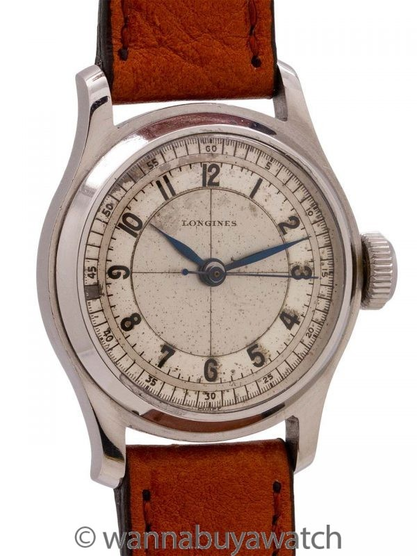 Longines Stainless Steel Sector Dial circa 1937