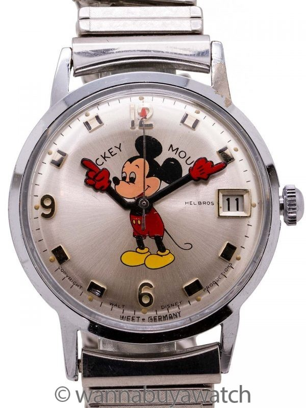 Helbros 17 Jewel Mickey Mouse Date with Box and Papers circa 1970's