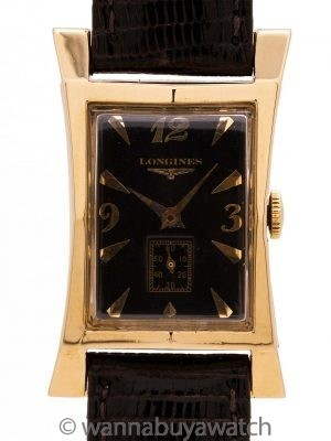 Longines 14K YG Elongated Hourglass circa 1950s