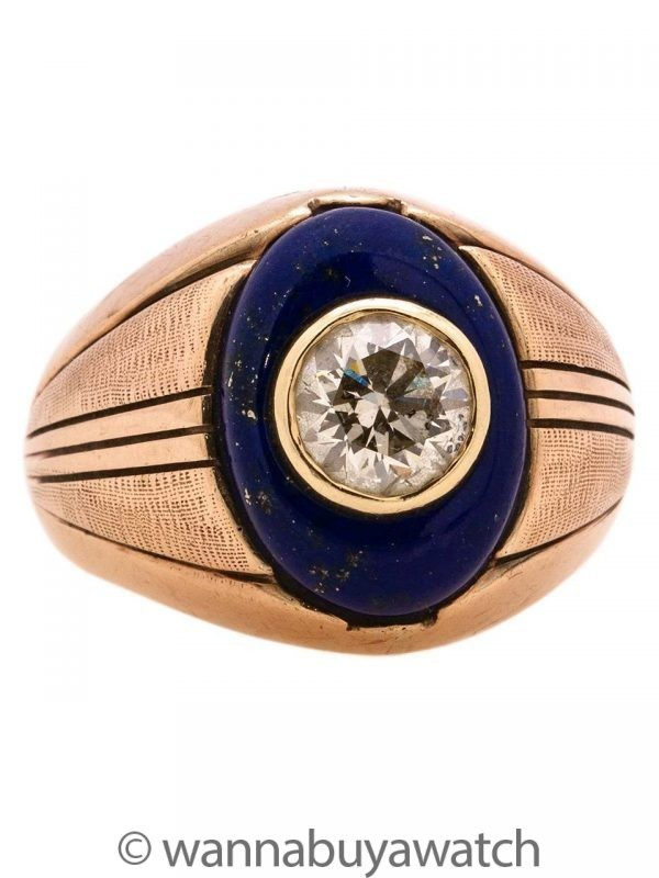 Vintage Men's Ring 9K Rose Gold Lapis & OEC Diamond 1.50ct L-I2 circa 1930s
