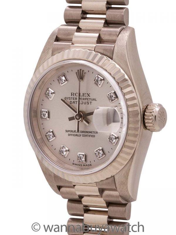 Lady Rolex President ref 79179 18K WG Factory Diamonds circa 1999