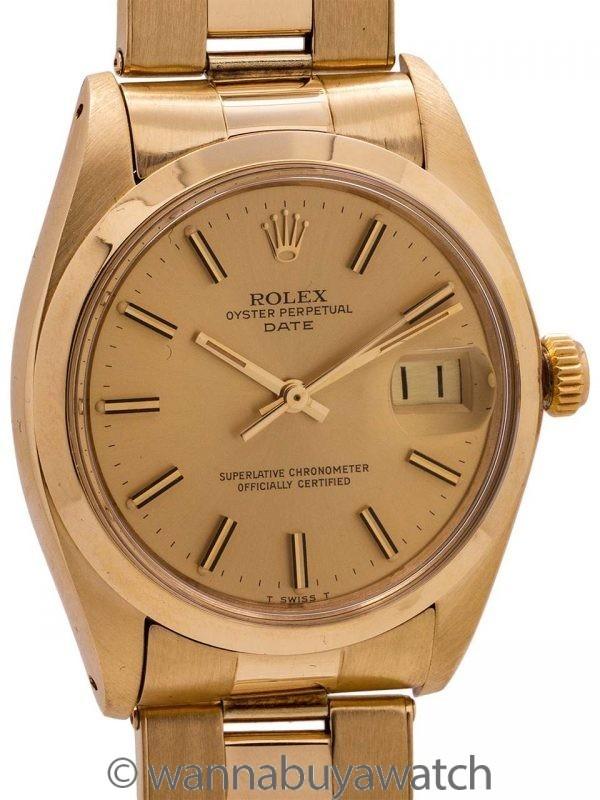 Rolex Oyster Perpetual Date ref 1500 14K YG circa 1978
