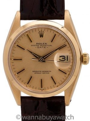 Rolex Oyster Perpetual Date ref 1500 14K YG circa 1958
