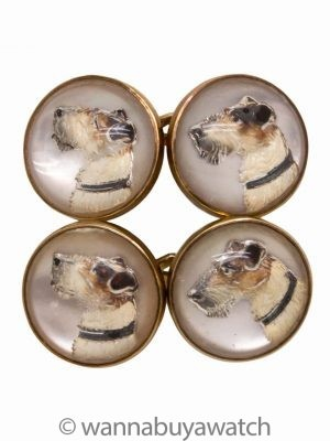 Vintage Yellow Gold Enamel Fox Terrier Dog Cabochon Cufflinks circa 1930s