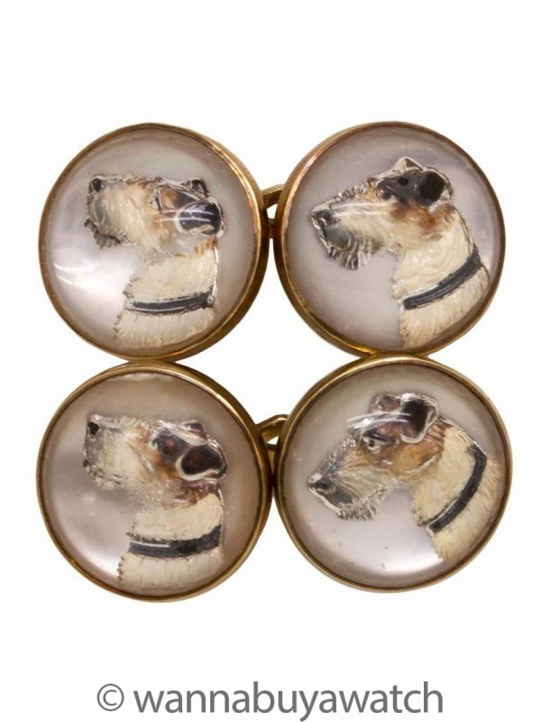 Fox Terrier Reverse Glass Cufflinks 14K YG circa 1930s