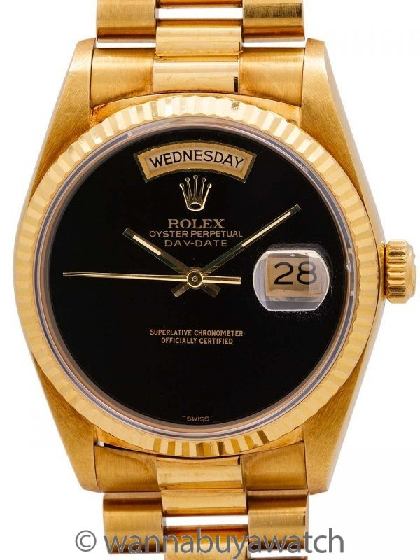Rolex 18K YG Day Date ref 18038 Onyx Dial circa 1985