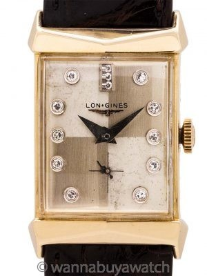 Longines 14K YG Diamond Set Dial circa 1956
