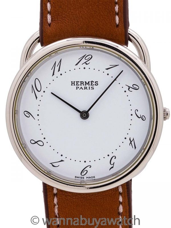 "Hermes Man's ""Arceau"" Stainless Steel circa 2000s"