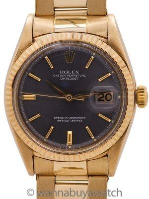 Rolex 14K YG Datejust Grey Dial ref 1601 circa 1962