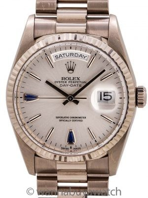 Rolex Day Date Sapphire Dial President ref# 18239 18K WG circa 1999