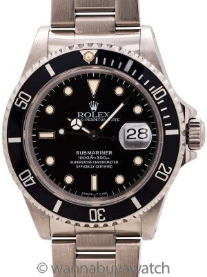 Rolex Submariner ref# 16610 Patina'd Tritium circa 1993 w/ Service Papers