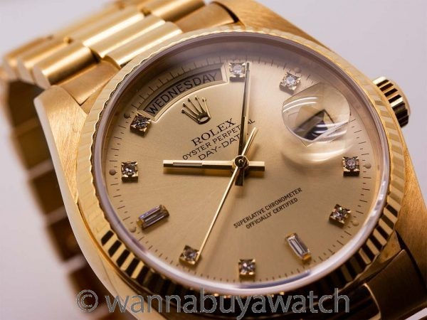 Rolex ref 18038 Day Date President 18K YG Diamond Dial circa 1978 Mint!