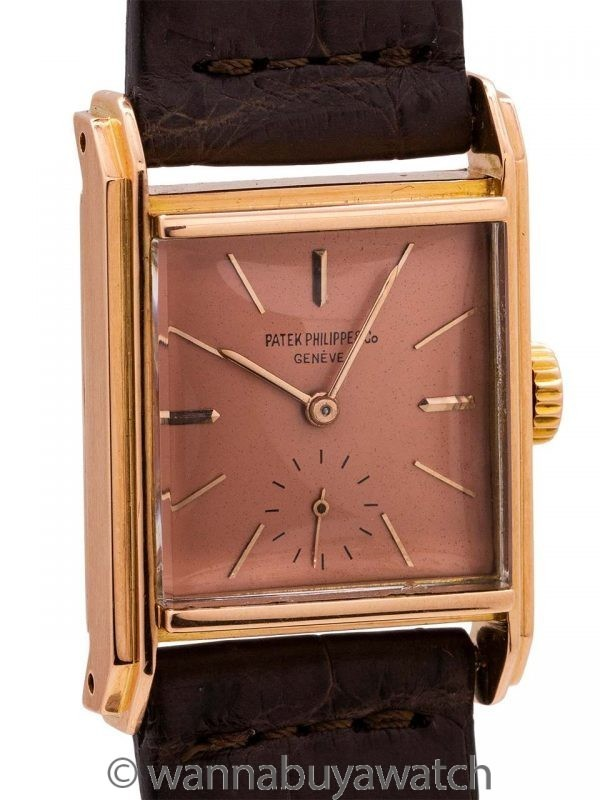 Patek Philippe 18K PG Square Manual circa 1950's