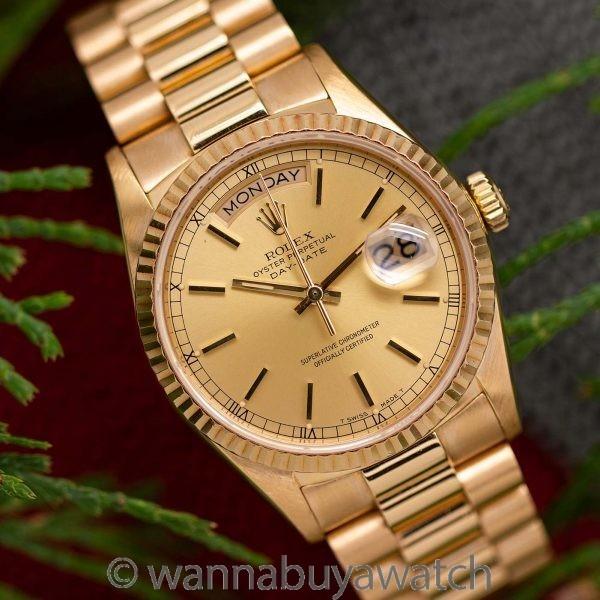 Rolex 18K YG ref 18038 Day Date circa 1985
