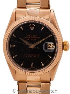 Rolex Midsize Datejust ref 6627 18K Rose Gold circa 1968
