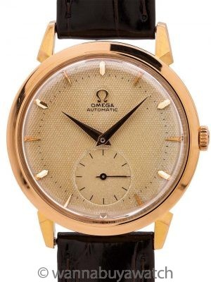 Omega Automatic ref 2709 Waffle Dial 18K PG circa 1950's