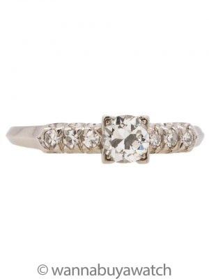 Platinum Diamond Engagement Ring 0.33ct OEC H-SI1 circa 1940s