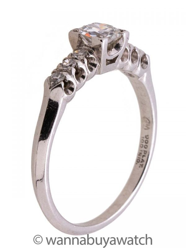 Platinum Diamond Engagement Ring 0.33ct OEC H-SI1 circa 1940s