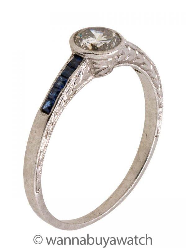 Platinum Engraved Engagement Ring 0.45ct Round Brilliant J-SI2
