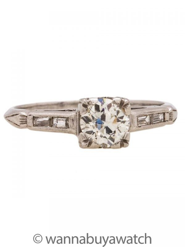 Vintage Platinum Engagement Ring 0.60ct I-VS2 OEC circa 1930's