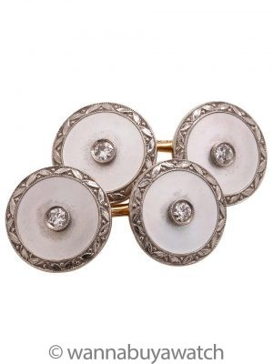 Antique 14K Mother of Pearl & Diamond Cufflinks & Stud Set circa 1930s