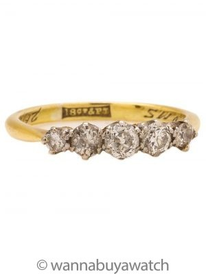 Vintage 18K & Platinum Diamond Five Stone Ring 0.53ct circa 1927