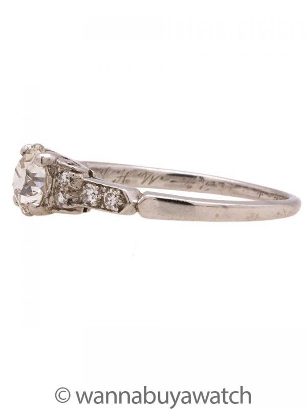 Vintage Engagement Ring Platinum Art Deco 0.65ct OEC G-VS2 circa 1930s