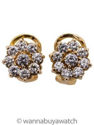 Stunning Diamond Cluster Earrings 14K YG 1.50ct F/VS2