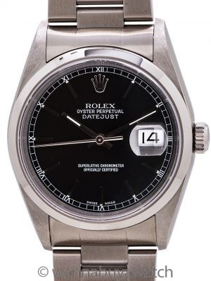 Rolex Stainless Steel Datejust ref 16200 Black Dial circa 2000