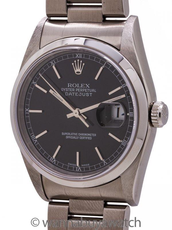 Rolex Stainless Steel Datejust ref 16200 Black Dial circa 2002