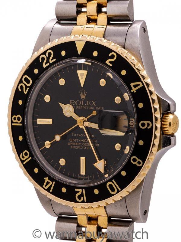 Rolex GMT ref 16753 Tiffany & Co. SS/18K YG circa 1984