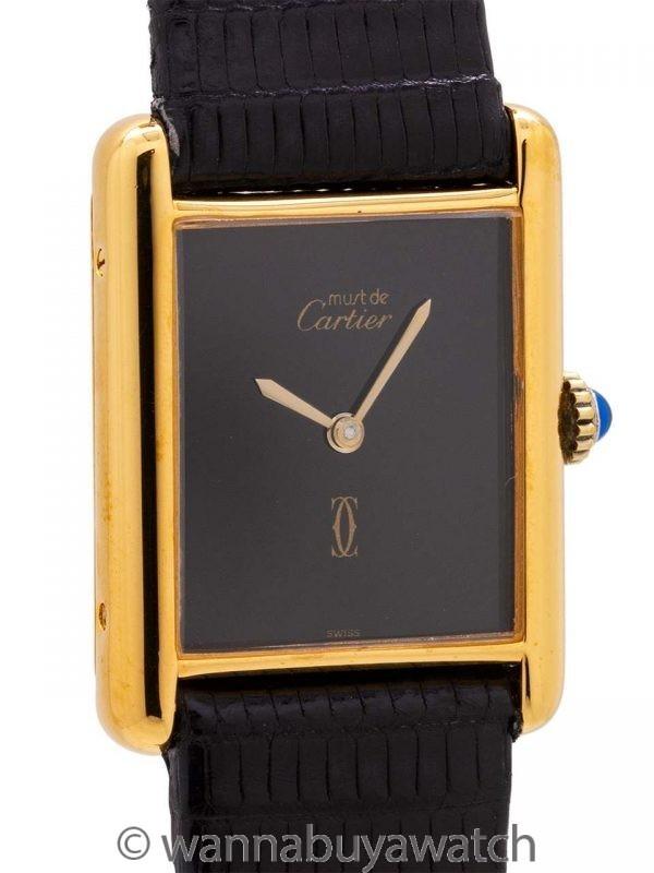 Cartier Man's Tank Louis Vermeil Black Dial circa 1970s