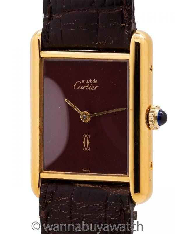 Cartier Lady's Tank Louis Burgundy Dial circa 1980's