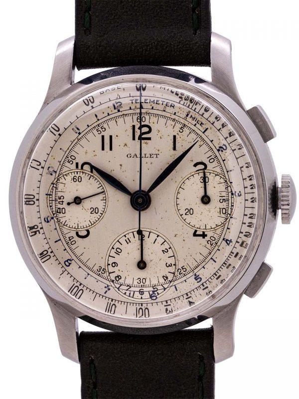 Gallet 3 Registers Chronograph Valjoux 71 circa 1940's
