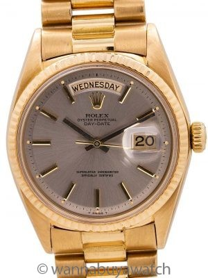Rolex 18K YG Day Date ref# 1803 Gray Pie Pan Dial circa 1966