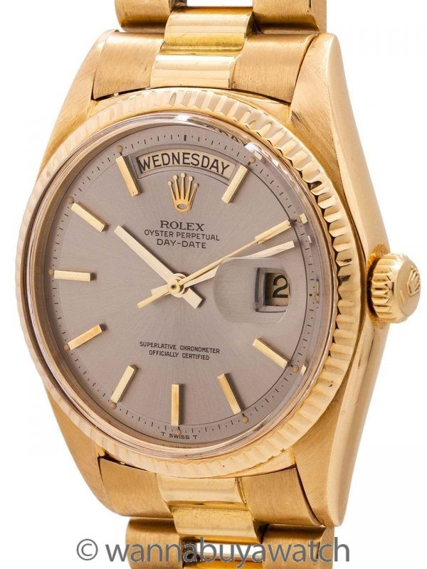 Rolex 18K YG Day Date ref# 1803 Gray Pie Pan Dial circa 1966