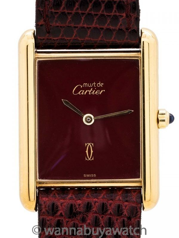 Cartier Lady's Tank Louis Burgundy Dial circa 2000's