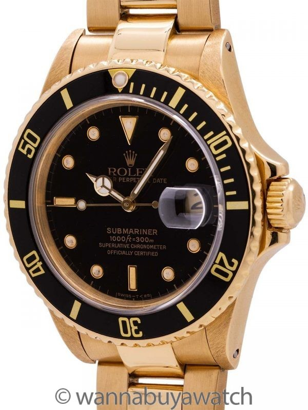 Rolex Submariner ref# 16808 18K YG Transitional model circa 1987