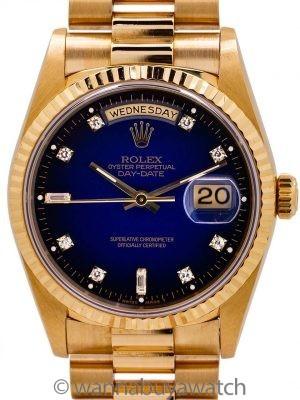 Rolex President ref 18238 18K YG Dégradé Diamond Dial circa 1997 MINT! B & P