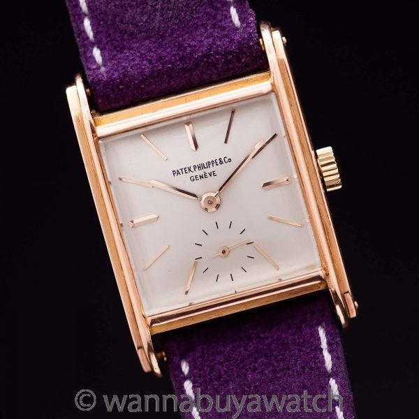 Patek Philippe Rectangle Dress 18K PG circa 1946 Archive