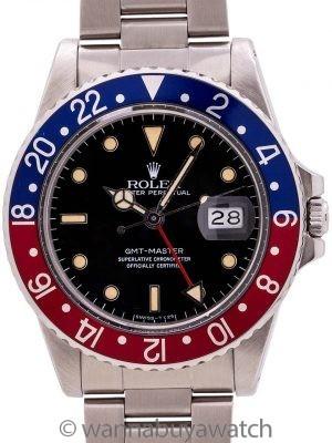 """Rolex GMT ref 16750 Transitional Rare """"No Date"""" circa 1983"""