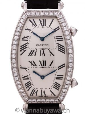 Cartier Dual Time Zone Tonneau 18K WG Factory Diamonds circa 2000's
