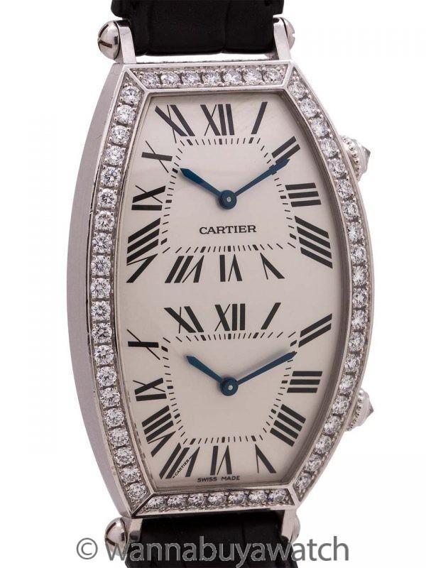 Cartier Dual Time Zone Tonneau 18K WG Factory Diamonds circa 2000's