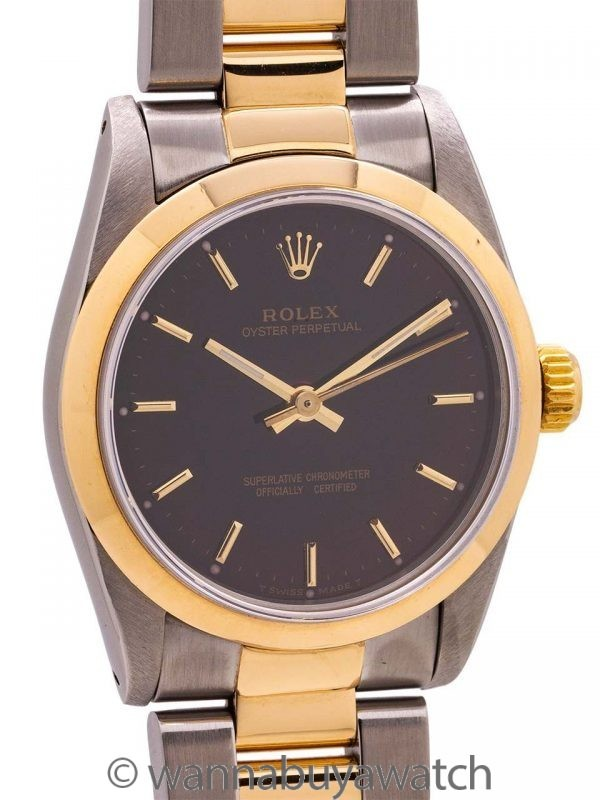 Rolex Oyster Perpetual SS & 18K Midsize ref 67513 circa 1990