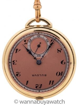 Bulova 12-S Open Face Pendant Pocketwatch circa 1940's