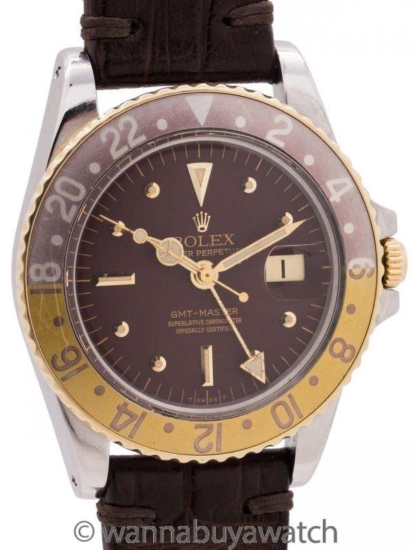 "Rolex GMT ref# 1675""F"" SS/18K YG ""Chocolat"" circa 1978 ""Viva La France"""