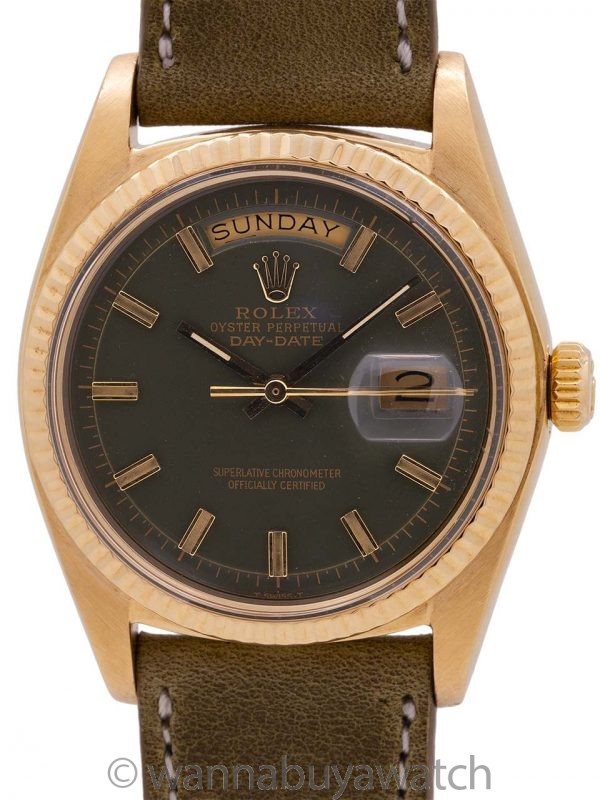 "Rolex Day Date ref 1803 ""Army Green"" Fat Boy Dial circa 1973"